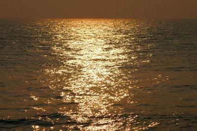 Nos pontos de maior brilho, a luz está sofrendo polarização por reflexão após incidir sobre o ângulo de Brewster