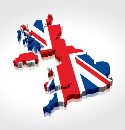 Mapa com as cores da bandeira do Reino Unido que simboliza a união dos países que formam esse Estado