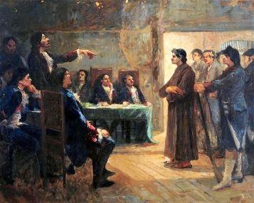 Estudo para frei Caneca, obra de Antônio Parreiras (1860-1934) representado o julgamento de Frei Caneca