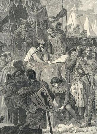 Acima, desenho do rei inglês João Sem Terra assinando a Magna Carta em 1215