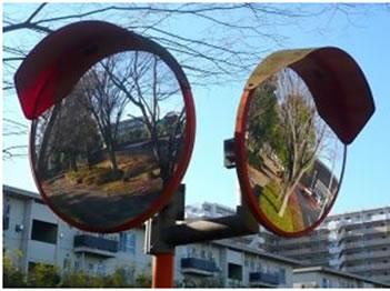 Espelhos convexos utilizados nas ruas.