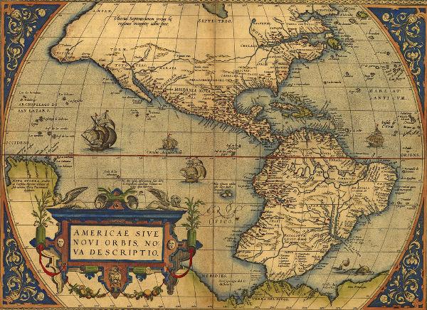 Mapa da América feito por Abraham Ortelius em 1570.