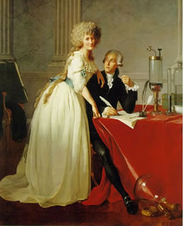Lavoisier e sua esposa Marie que o auxiliava em seus experimentos