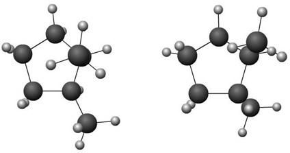 Modelo das moléculas dos isômeros cis-1,2-dimetilciclopentano e trans-1,2-dimetilciclopentano