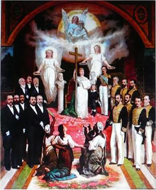A Lei Áurea, de Miguel Navarro Cañizares (1834-1913). Na obra é possível perceber o significado da abolição, ao retratar os negros ainda ajoelhados*