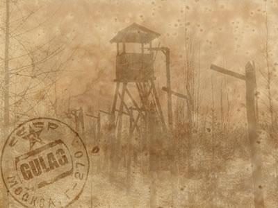 Imagem retratando uma torre de observação de um gulag