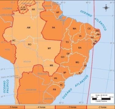 Mapa com os três fusos horários brasileiros.¹