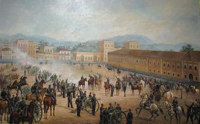 A tela Proclamação da República, de Benedito Calixto (1853-1927), retrata o momento em que Deodoro da Fonseca chegou ao centro do Rio de Janeiro