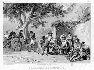 Trabalho de Johann Moritz Rugendas (1802-1858), Castigos Domésticos, representa as situações de vida dos escravos africanos no Brasil