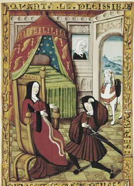 Um cavaleiro medieval visitando uma nobre dama