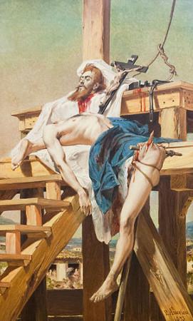 Acima, quadro do pintor Pedro Américo representando Tiradentes morto e esquartejado