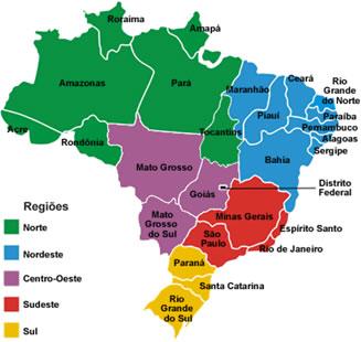 A configuração das cinco regiões brasileiras.