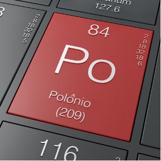 A ilustração mostra as principais propriedades do elemento químico polônio