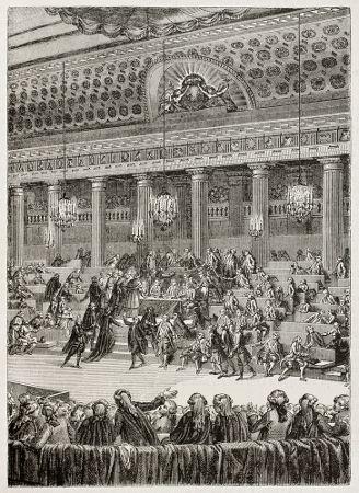Desenho retratando a decisão favorável sobre a abolição dos privilégios da nobreza em 04 de agosto de 1789