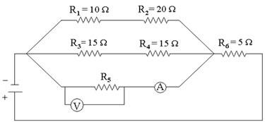 As indicações dos instrumentos de medida são: voltímetro (V) e amperímetro (A)