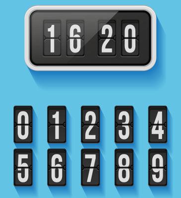 Números naturais reunidos em um subconjunto para mostrar as horas e os minutos
