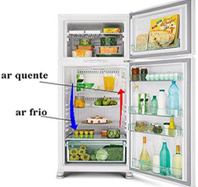 A movimentação do ar no interior da geladeira, pelas correntes de convecção, mantém sua temperatura baixa