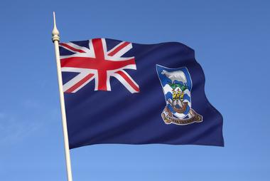 Bandeira das Ilhas Malvinas, com o símbolo do Reino Unido na parte superior esquerda