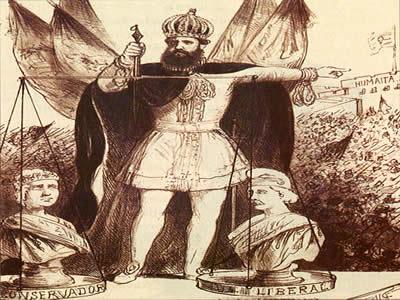 D. Pedro II representado como o Poder Moderador, a balança entre os partidos liberal e conservador. Gravura de Henrique Fleiuss (1824-1882).