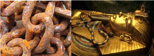 O ferro se oxida com maior facilidade que o ouro, pois são metais que possuem potenciais de redução e oxidação diferentes