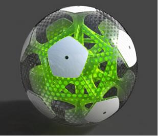 Os gomos de muitas bolas de futebol são revestidos com poliuretano altamente durável e leve.