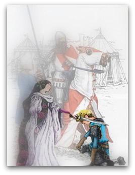 Cerimônia de formação do cavaleiro medieval, no momento do juramento