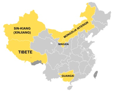 Mapa das cinco regiões autônomas da China