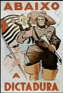 Cartaz representando um bandeirante paulista convocando para a Revolução contra Getúlio