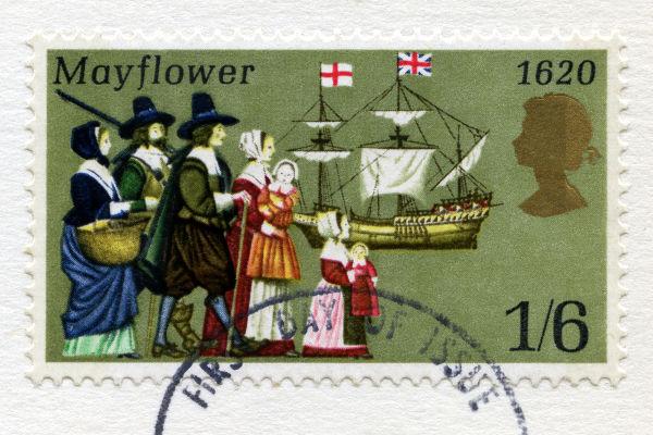 Em 1620, desembarcaram na América do Norte os peregrinos do navio Mayflower, que fugiam da perseguição religiosa na Inglaterra.*