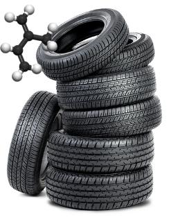 A borracha de pneus é formada pela polimerização de alguns dienos, como isopreno, eritreno e neopreno por meio de reações de adição 1,4