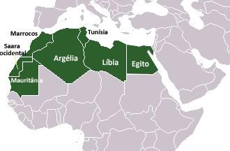 Mapa dos países que compõem a África Branca