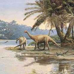 Possível paisagem do tempo dos dinossauros.