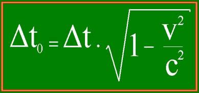 Equação para o cálculo da dilatação do tempo