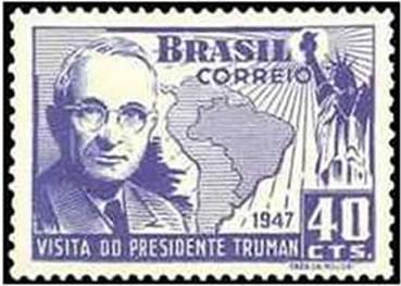 Selo comemorativo lançado pelos Correios em homenagem à visita do Presidente do EUA, Harry Truman.
