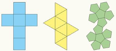 Planificações de sólidos geométricos cujas faces são polígonos convexos, figuras que não possuem reentrâncias