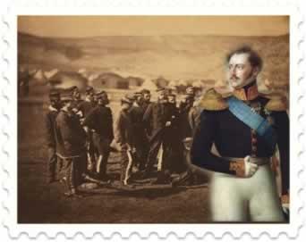 Guerra da Crimeia: ao fundo, oficiais ingleses; e à direita, o Imperador russo Nicolau I