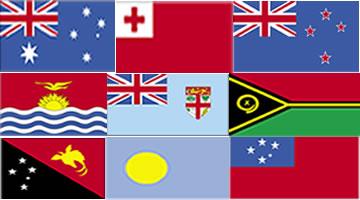 Bandeiras de alguns países da Oceania
