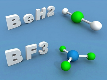 O berílio e o boro nos compostos acima são exceções à regra do octeto, porque ficam estáveis com menos de oito elétrons