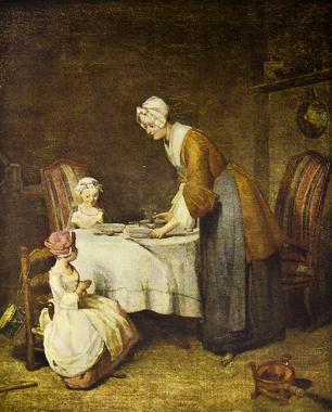 Pinturas como essa que representam os modos de cuidado materno na intimidade de um lar são fontes para a história da vida privada