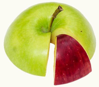 Uma fração madura da maçã verde