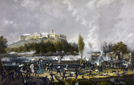 Ilustração de 1848 retrata a Batalha de Chapultepec, na conquista da Cidade do México pelos Estados Unidos