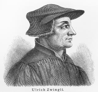 Gravura do teólogo Ulrich Zwinglio (1489-1531), difusor do protestantismo na Suíça e morto na Guerra Civil