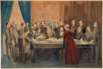 Representação do ato de assinatura do projeto para a Constituição de 1891, realizado por Deodoro da Fonseca