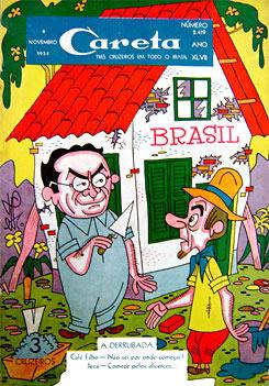 Capa da revista Careta satirizando os desafios de Café Filho para fazer as reformas necessárias ao Brasil