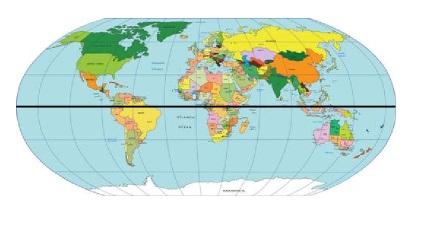 Projeção cartográfica destacando a Linha do Equador
