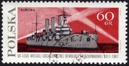 Selo polonês retratando o encouraçado Aurora, que lutou pela Rússia na Guerra Russo-Japonesa*