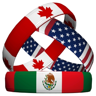 O Nafta é a integração econômica entre Estados Unidos, Canadá e México