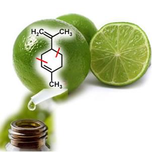 O limão contém limoneno, que é um terpeno usado na produção de óleos essenciais