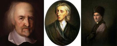 Em ordem, Thomas Hobbes, John Locke e Jean-Jacques Rousseau