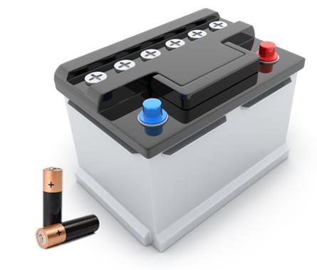 Imagem de pilhas comuns e uma bateria de chumbo usada em automóveis